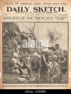 1916 Daily Sketch front page French troops in action wearing gas masks - Stock Photo