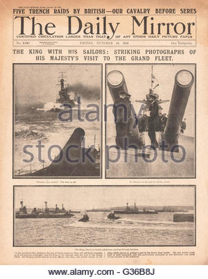 1916 Daily Mirror front page King George V visits the grand fleet - Stock Photo