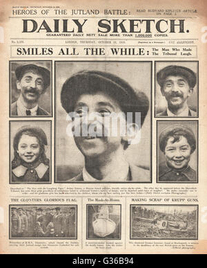 1916 Daily Sketch front page French polisher Arthur Yetton, the 'man with the laughing face' - Stock Photo