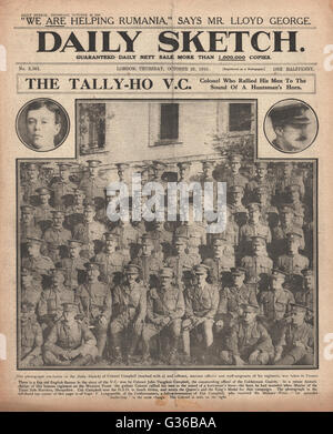 1916 Daily Sketch front page John Campbell VC and fellow officers of the Coldstream Guards - Stock Photo