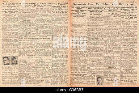 1916 Daily Sketch pages 2 & 3 Russian Army battle for Romania - Stock Photo