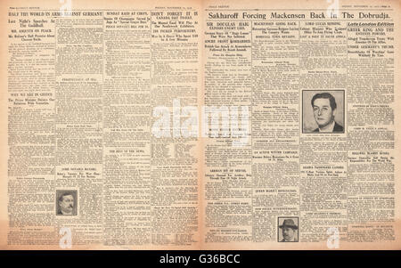 1916 Daily Sketch pages 2 & 3 German army retreat in the Dobrudja - Stock Photo