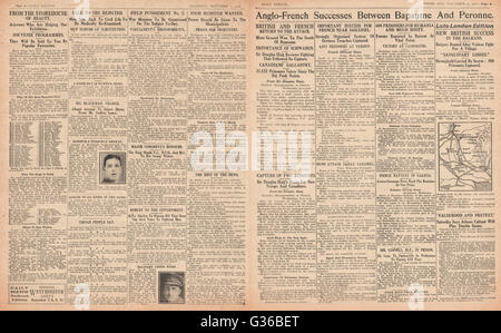 1916 Daily Sketch pages 2 & 3 British and French success on the Somme - Stock Photo