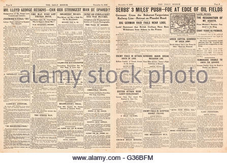 1916 Daily Mirror pages 2 & 3 British government in crisis and resignation of Lloyd George and Herbert Asquith - Stock Photo