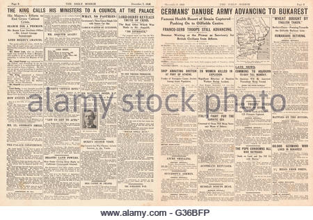 1916 Daily Mirror pages 2 & 3 King George V calls ministers to Buckingham Palace and German army advance on Bucharest - Stock Photo