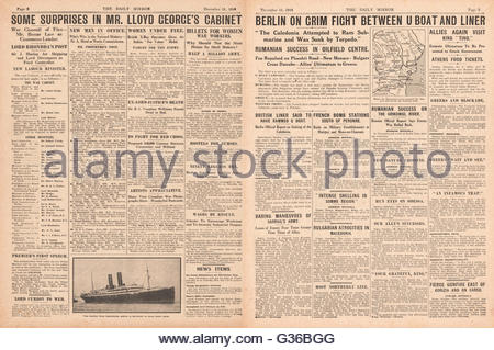 1916 Daily Mirror pages 2 & 3 Lloyd George announces Cabinet and sinking of Anchor Liner Caladonia by submarine - Stock Photo