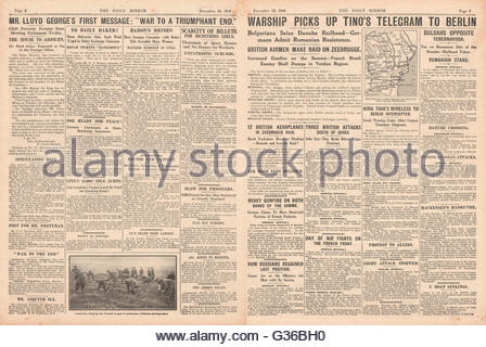1916 Daily Mirror pages 2 & 3 King Constantine message intercepted by Greek warship Hydra - Stock Photo