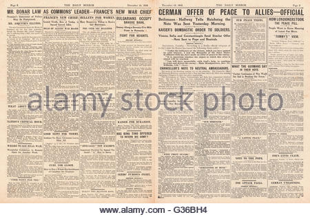 1916 Daily Mirror pages 2 & 3 German chancellor makes peace proposal in the Reichstag and Andrew Bonar Law becomes - Stock Photo