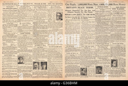 1916 Daily Sketch pages 2 & 3 British government respond to German peace offer - Stock Photo
