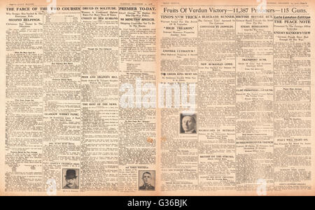 1916 Daily Sketch pages 2 & 3  French victory at Verdun - Stock Photo