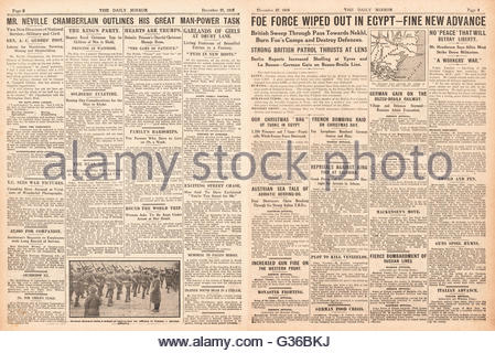 1916 Daily Mirror pages 2 & 3 Turkish army defeated in Egypt - Stock Photo