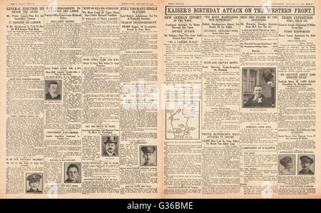 1916 Daily Sketch pages 2 & 3 German Army offensive on the Western Front - Stock Photo