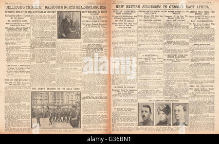 1916 Daily Sketch pages 2 & 3 Battle of Jutland - Stock Photo