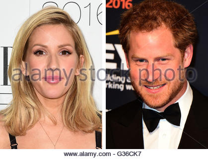 File photos of Ellie Goulding and Prince Harry, as rumours that they are dating have seen bookmakers publishing - Stock Photo
