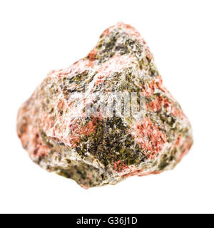 close up shot of a fragment of unakite mineral isolated on a white background - Stock Photo