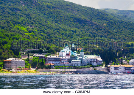 Russian monastery St.Panteleimonos at Agion Oros (Holly Mountain) Greece - Stock Photo