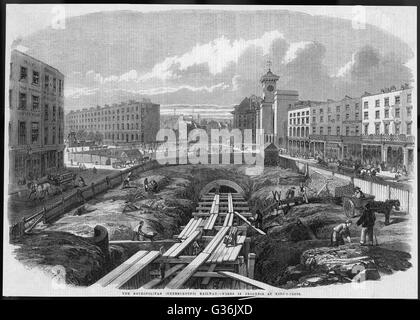 Construction work in progress on the world's first underground railway near King's Cross, Central London.     Date: - Stock Photo