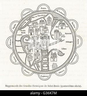 14th century World Map according to the Grandes Chroniques de Saint-Denis        Date: 14th century - Stock Photo