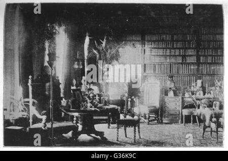 Sybell Corbet's photograph of  the library at Combermere,  taken between 2-3pm, seeming  to show a figure, resembling - Stock Photo