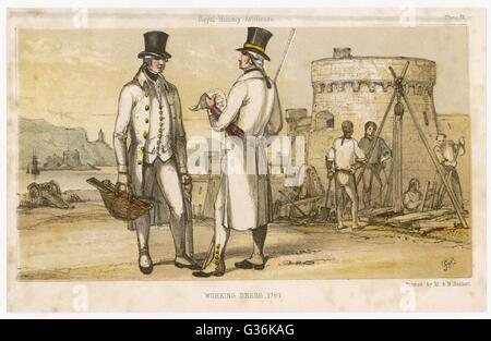 Artificers in their working dress         Date: 1787 - Stock Photo