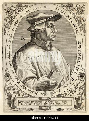 Ulrich Zwingli (1484-1531) Swiss religious reformer - Stock Photo