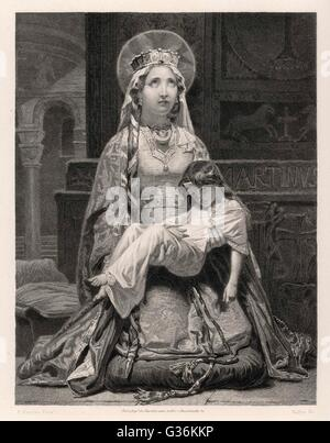 Clotilde (474? - 545?), wife of Clovis I, king of the Salian Franks - Stock Photo