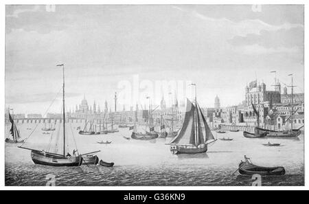 South east view of London and boats on the River Thames     Date: 1746 - Stock Photo