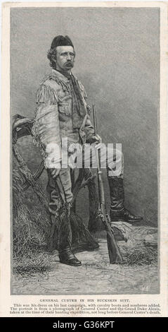 George A Custer (1839-1876) American soldier, wearing the  buckskin suit he was wearing  when he made his last stand - Stock Photo