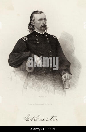 George A Custer (1839-1876) American soldier probably circa 1863 - Stock Photo