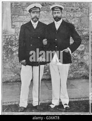 As Like As Brothers : The Tsar  (with a walking stick) and the  Prince of Wales (later  George V), at Barton Manor, - Stock Photo