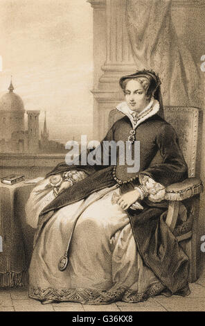 MARY TUDOR QUEEN OF ENGLAND (1516-1558) Daughter of Henry VIII and  Catherine of Aragon       Date: 1516 - 1558 - Stock Photo