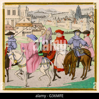 The Canterbury Pilgrims on the road        Date: First published: circa 1387 - Stock Photo