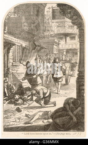 Plague victims in the street          Date: 1665 - Stock Photo