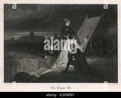 Unloading the dead cart          Date: 1665 - Stock Photo