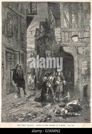 Great Plague of London of 1665. Discovering victims in the  London streets      1665 - Stock Photo