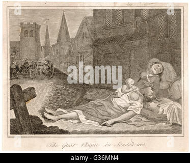 Victims of the plague lying  the street awaiting the dead  cart.          Date: 1665 - Stock Photo