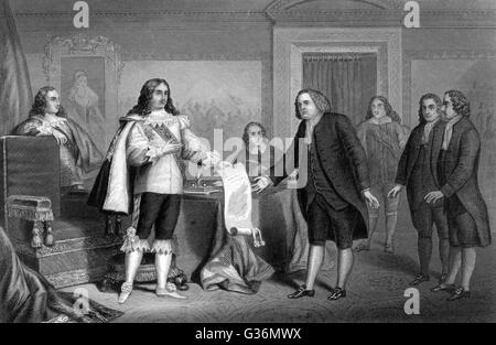 William Penn receives from Charles II the charter of  Pennsylvania        Date: 1681 - Stock Photo