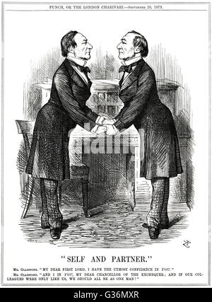 WILLIAM EWART GLADSTONE (1809-1898) as both First Lord of theTreasury and Chancellor of the  Exchequer, ensuring - Stock Photo