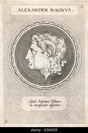 Alexander the Great (356 - 323 BC), King Alexander III of Macedon, wearing the horns signifying his descent from - Stock Photo