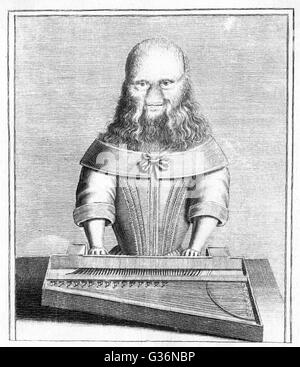 Barbara Urslerin (1629-1668+), a bearded girl from Germany, seen here playing the harpsichord.          Date: circa - Stock Photo