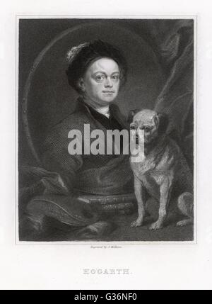 William Hogarth (1697-1764), artist -- a self portrait with his dog.     Date: circa 1730 - Stock Photo
