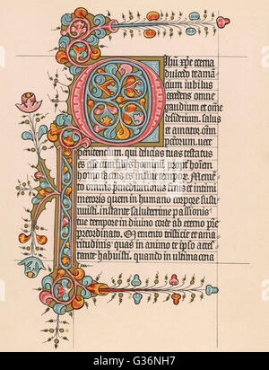 An illustrated page from a Book of Hours, written in Latin.           Date: 15th century - Stock Photo