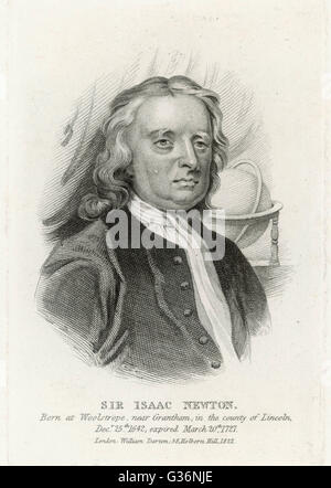 Sir Isaac Newton (1642-1727), English mathematician, physicist, astronomer, natural philosopher, alchemist, theologian - Stock Photo