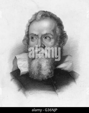 Galileo Galilei (1564-1642), Italian physicist, mathematician, astronomer and philosopher. He got into trouble with - Stock Photo