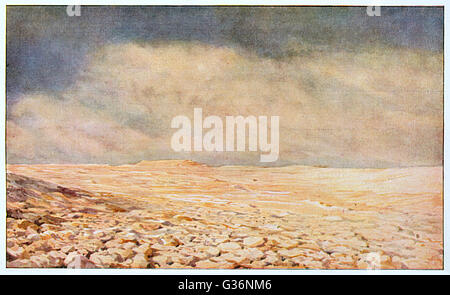 A typical landscape on the planet Mars, in one of the desert areas.          Date: circa 1930 - Stock Photo