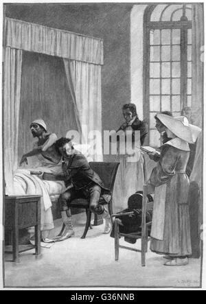 Rene Theophile Hyacinthe Laennec (1781-1826), French physician, inventor of the stethoscope in 1816 at the Hopital - Stock Photo