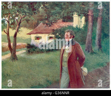 Franz Schubert (1797-1828), Austrian composer and musician, strolling in the countryside.      Date: circa 1820 - Stock Photo