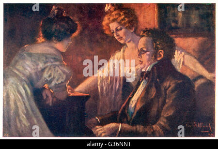 Franz Schubert (1797-1828), Austrian composer and musician, at the piano with the Tscholl girls.       Date: circa - Stock Photo