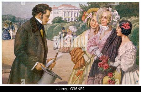 Franz Schubert (1797-1828), Austrian composer and musician, meeting the Tscholl girls in a Vienna park.      Date: - Stock Photo