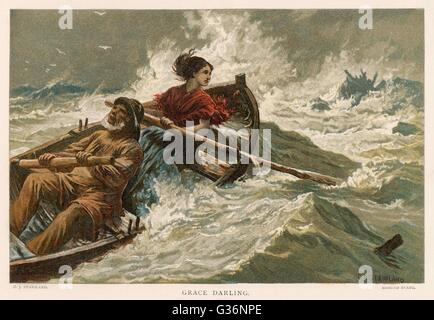 Grace Horsley Darling (1815-1842), daughter of the lighthouse keeper, William Darling, on the Farne Islands, seen here rowing with her father to the sinking steamboat the SS Forfarshire in 1838 -- together with her father she saved 13 people from the wrec